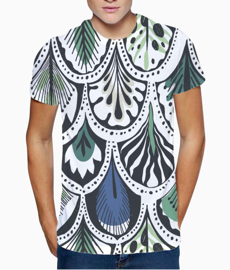 Feather pattern t shirt front