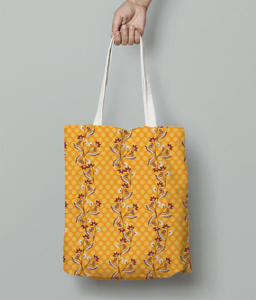 Yellow floral 2 bg tote bag front