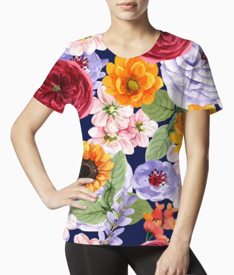 Watercolor print floral design tee front