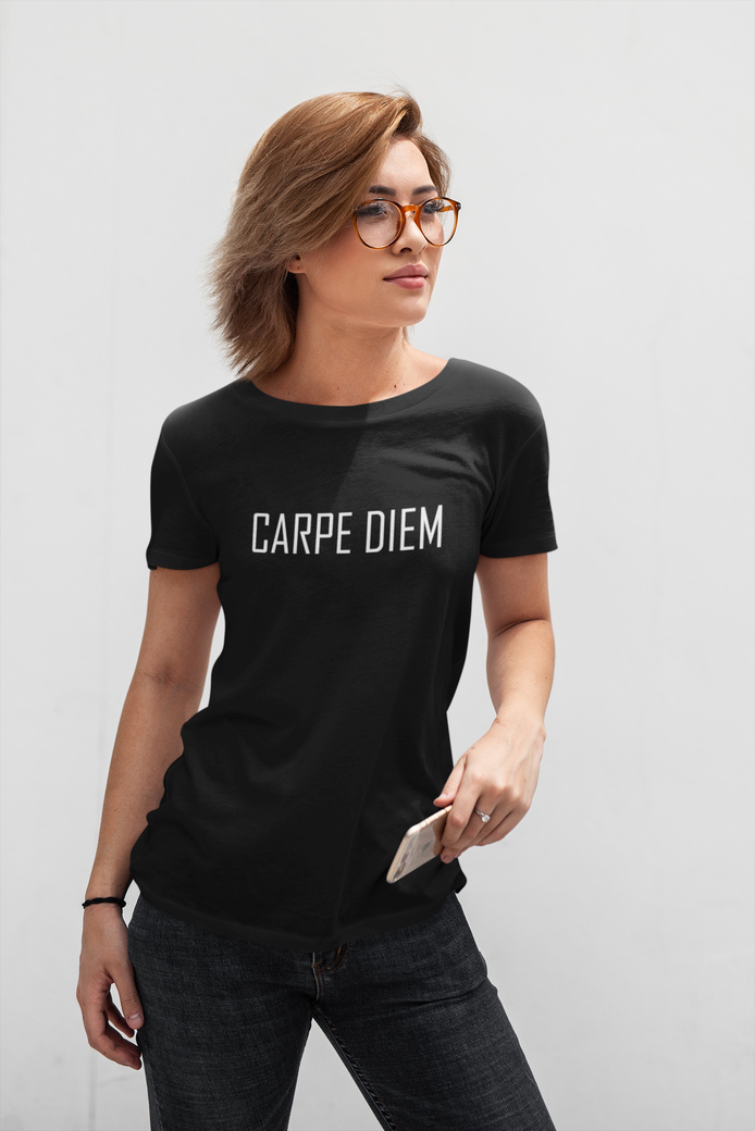 T shirt mockup featuring a short haired woman posing in front of a white wall 413 el