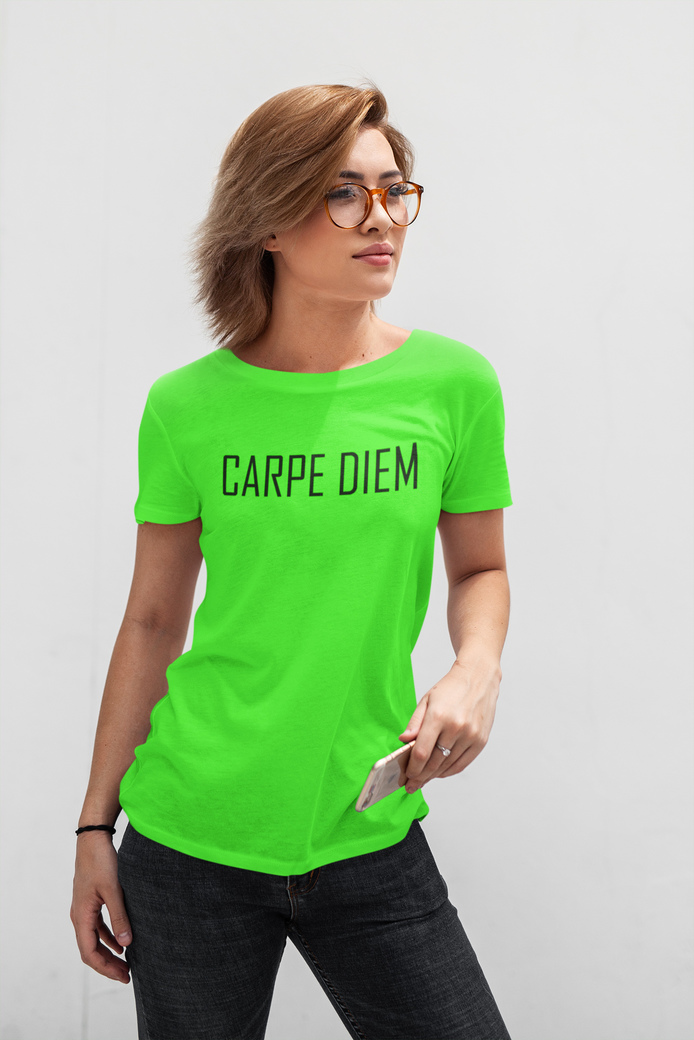 T shirt mockup featuring a short haired woman posing in front of a white wall 413 el %283%29