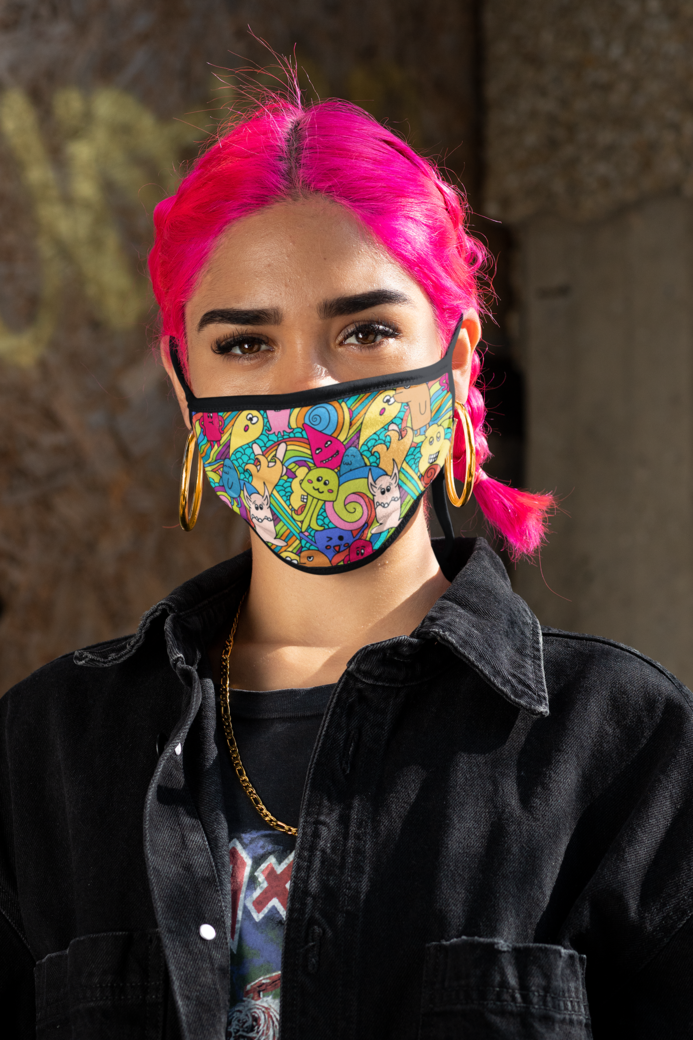 Mockup of a cool pink haired woman wearing a face mask m404