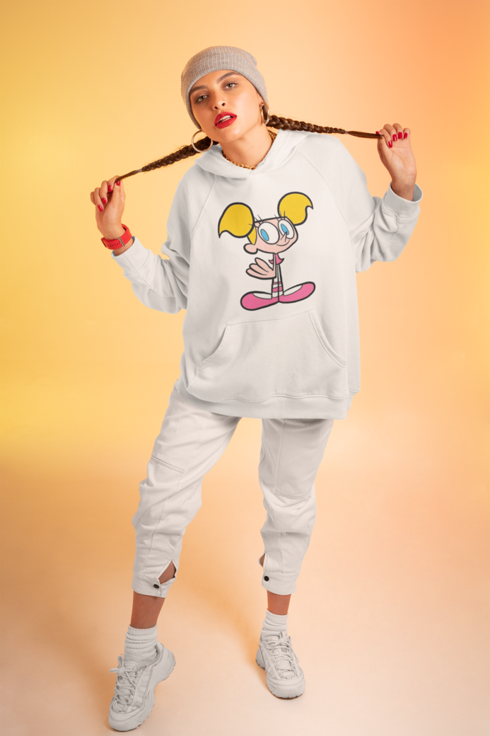 Hoodie mockup of a woman in a streetwear outfit at a studio m637