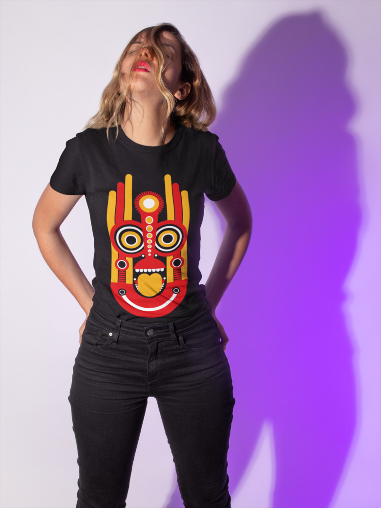 T shirt mockup of a woman with her hair all over her face 18604