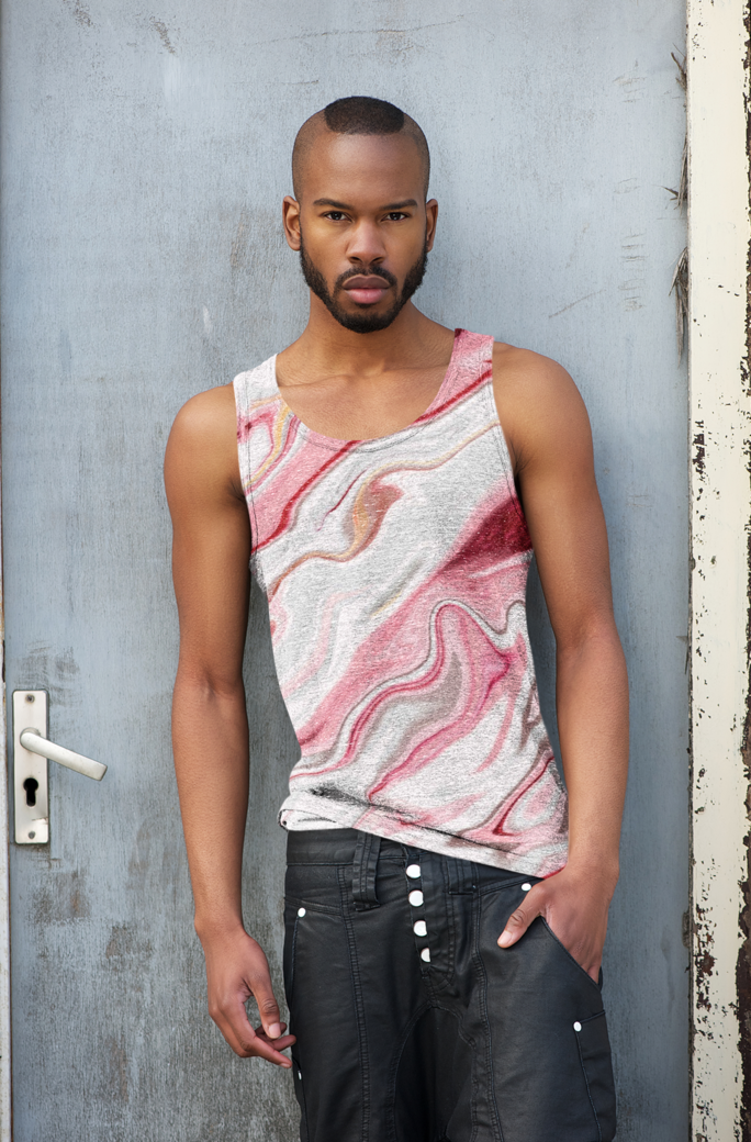 Mockup of a man with a heathered tank top leaning on a metal door 38215 r el2