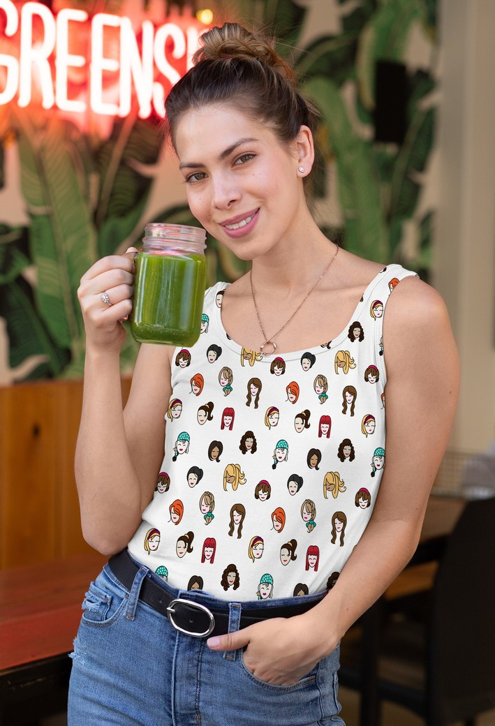 Tank top mockup of a smiling woman drinking a smoothie 32764