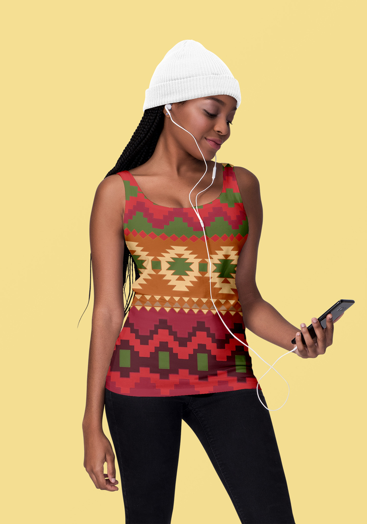Tank top mockup of a woman listening to music at a studio 1827 el1
